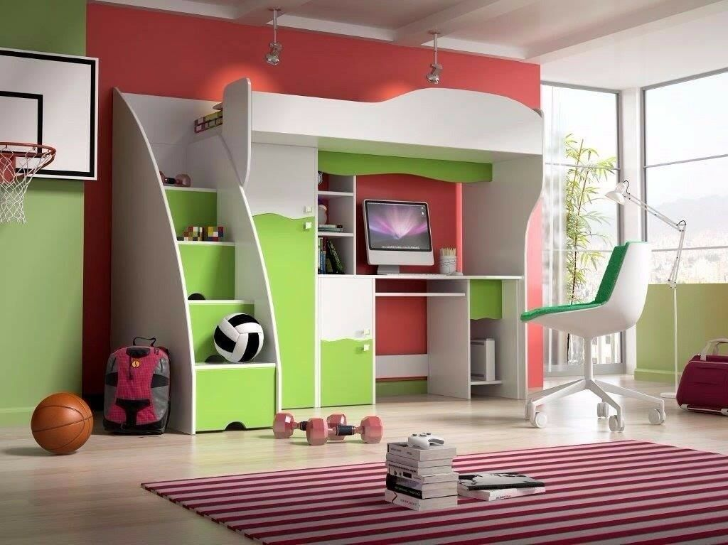Kids Childrens Furniture Bunk Bed Cabin Wardrobe And Desk Excellent Condition Under 2 Yr