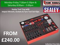 Sealey Tool Tray with Impact Wrench, Sockets & Tyre Tool Set 42pc