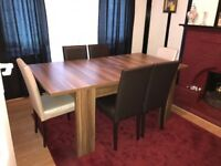 Modern High quality Dining table with six Leather chairs (2 white and 4 brown) nearly brand new