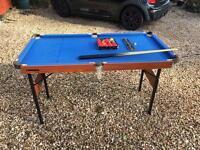 "Folding Snooker Table 4' 8"" x 2' 6"" c/w Cues, Balls, etc"