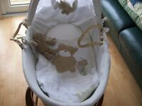LOVED AND ADORED NEUTRAL MOSES BASKET AND DARK WOOD ROCKING STAND ALSO HAVE SLEIGH COT BED FOR SALE