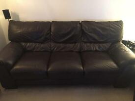 Comfy brown 3 seater leather sofa