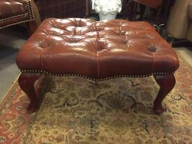 Lovely red chesterfield leather footstool Queen Anne