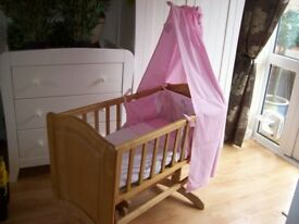MOTHERCARE GLIDING CRIB +/- MATTRESS AND COMPLETE CRIB BEDDING SET PINK OR NEUTRAL