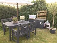 Painted garden table, bench & 2 chairs