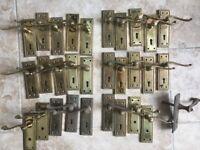 Antique 40 Pieces Brass Door Handles