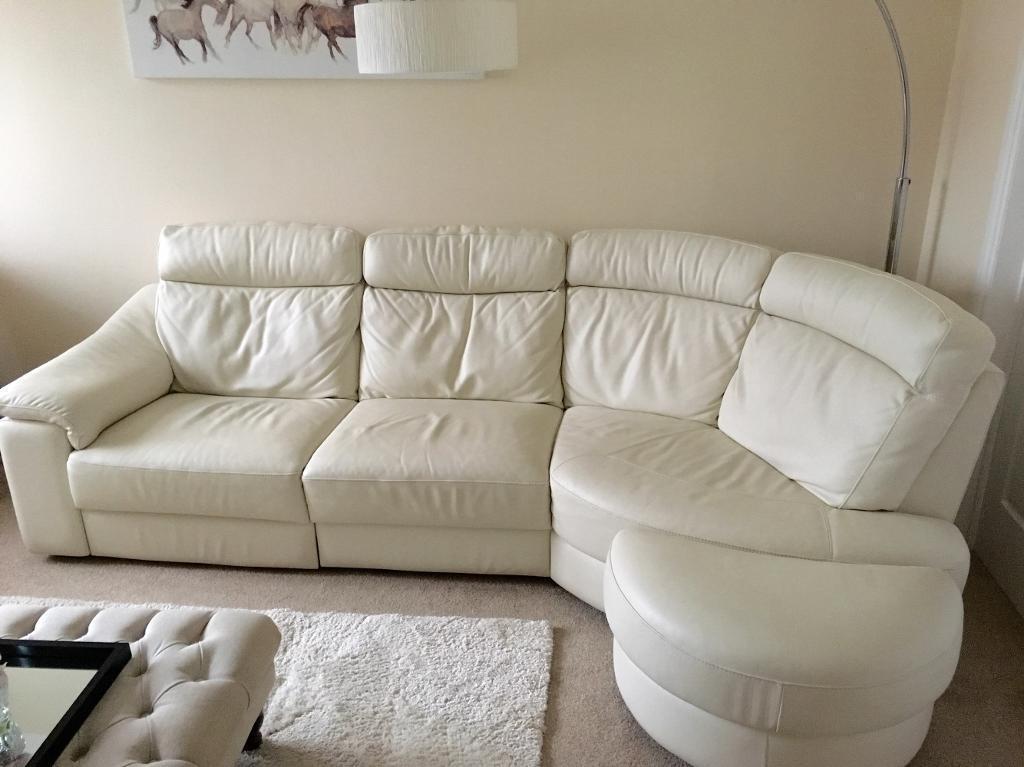 Italian cream leather sofa