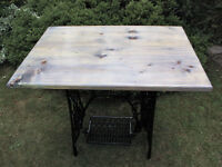 Garden table Vintage Cast Iron Sewing Machine Base wooden top