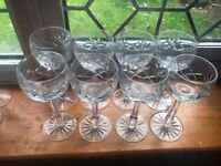 8 hock style wine glasses crystal cut design