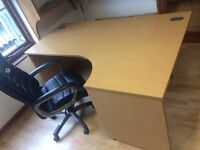 Office Desk - Crescent style - Right Hand - Beech Finish