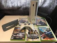 Xbox 360 with 5 games, hard drive and power leads