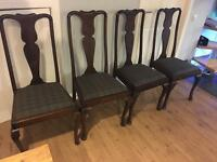 Four antique dining chairs Tweed seats