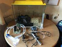 Fish tank (lid, gravel, heater, filter & decoration included)