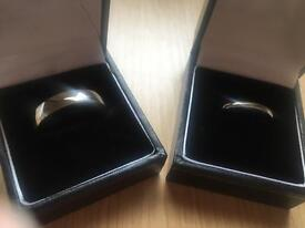 His & Hers palladium wedding rings
