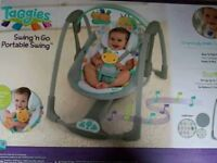 Variable speed baby swing with music.