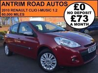 2010 RENAULT CLIO i-MUSIC 1.2 ** ONLY 60,000 MILES ** FINANCE AVAILABLE WITH NO DEPOSIT **