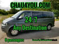 Licensed transport for up to 8 anywhere 24/7