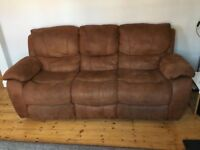 3 Seater Recliner Tan Sofa