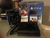 Playstation 4 with 3 games and Turtle Beach headset