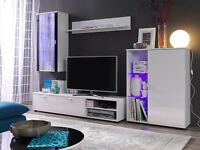 KING SOFA BED TV STANDS / TV UNIT /LED/ WARDROBE/ WHITE HIGH GLOSS LIVING ROOM FURNITURE SET