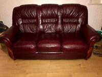 Red leather sofa and electric reclining chair