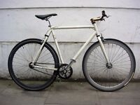Fixie Single Speed Bike, White, Deep-V Wheels, Dual Pull Brakes,JUST SERVICED / CHEAP PRICE!!!!!!