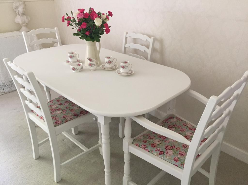 shabby chic table and chairs cottage kitchen dining table and 4 chairs table set in chelmsford. Black Bedroom Furniture Sets. Home Design Ideas