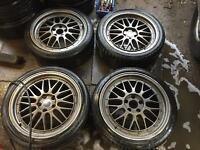 "18"" BBS RS STYLE ALLOY WHEELS VOLKSWAGEN GOLF MK5 PASSAT SHARAN AUDI A3 A4 A5 SET OF 4"