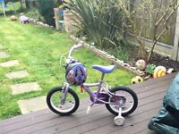 Apollo girls bike with helmet. 5-8 age