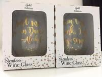 Two stemless wine glasses- great gift