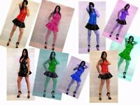 PVC DRESS Black White Red Blue Purple Green Yellow 8-10-12-14-16 UK New With Tags