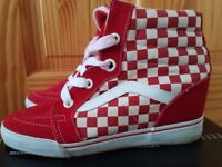 Vans hi top trainer wedge heels red and white chequered design size 7.5