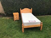 Pine single bed with bedside cabinet