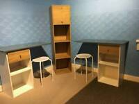 Two desks and bookcase