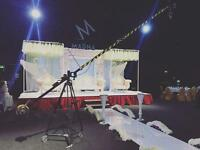 Camera crane jib hire for wedding cinematography videography filming weddings Operator c100 5d mk3