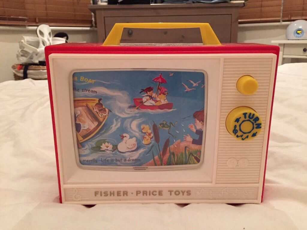 Fisher Price two tunes vintage music box tv
