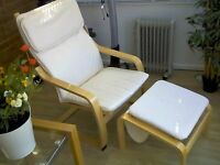 2x 'BENTWOOD' (ARGOS) FABRIC / WOODEN CHAIRS + FOOTSTOOLS, COLOUR NATURAL.
