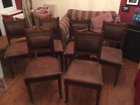 ***REDUCED*** Traditional vintage dining chairs oak and leather six