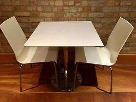 Table with 2 chairs cream colour