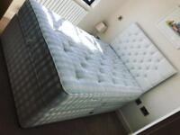 4' small double divan bed with 4 drawers, headboard and high quality mattress