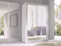 BRAND NEW BERLIN 2 DOOR SLIDING WARDROBE WITH FULLY MIRRORED Available in WHITE WALNUT BLACK