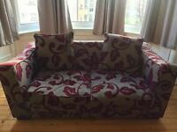 DFS Floral Red & Grey Sofa Bed