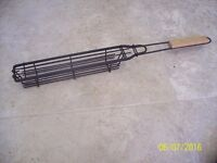 BBQ Tool Non-Stick Kebab Grill Basket /Sausage Turner (With Wooden Handle)