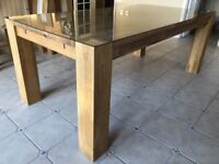 Solid Oak Dining Table with Protective Glass top (2m x 1m)