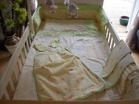 MOTHERCARE HUMPHRIES CORNER COMPLETE COT BED NURSERY BEDDING SET INC CURTAINS,DUVET,BUMPER,MOBILE ++
