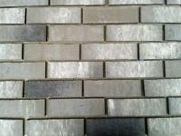 Brick tiles NF677 grey/white flamed