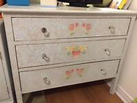 Three drawer shabby chic chest