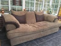 Large 3 seater sofa plus foot stool with inside storage