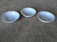 Plain White Bowls x3