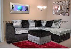 BIG SALE NOW ON NEW DYLAN CRUSH VELVET CORNER OR 3 AND 2 SEATER SOFA SET - SAME DAY CASH ON DELIVERY